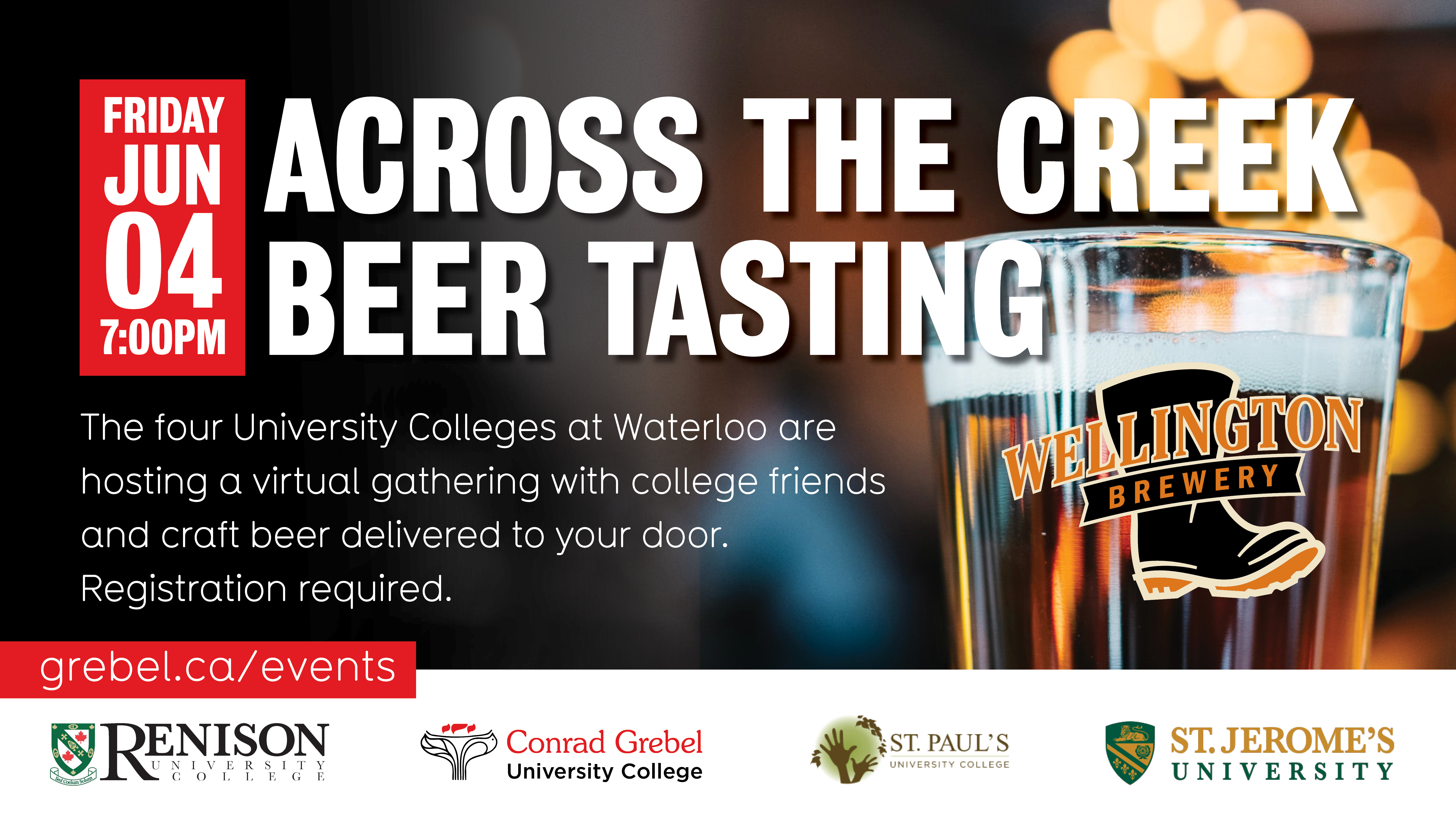 Across the Creek Beer Tasting, logos from Renison, Conrad Grebel, St. Jerome's and St. Paul's Colleges